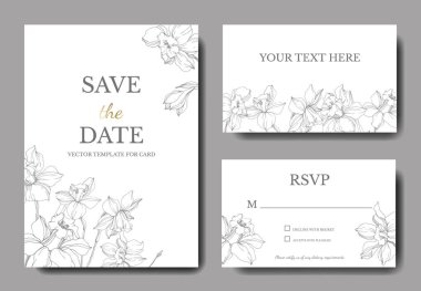 Vector elegant wedding invitation cards with white narcissus flowers illustration. Engraved ink art. clip art vector