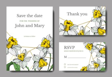 Vector elegant wedding invitation cards with white narcissus flowers illustration. Engraved ink art. stock vector