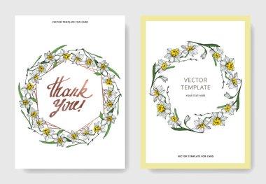 Vector elegant wedding invitation cards with white narcissus flowers illustration. Engraved ink art.