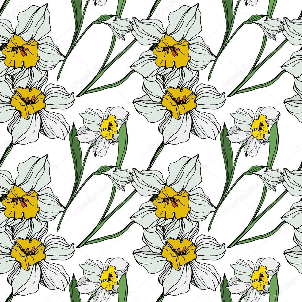 Vector white and yellow narcissus flowers with green leaves. Engraved ink art on white background. Seamless background pattern. clipart vector