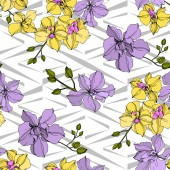 Fotografie Vector yellow and violet orchid flowers. Engraved ink art. Seamless background pattern.