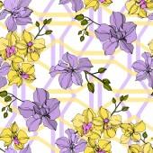 Vektor sárga és lila orchidea virágok. Gravírozott tinta művészet. Folytonos háttérmintázat.