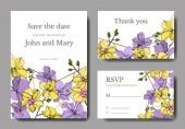 Vektorororchideenblüten. gelb und violett gestochene Tuschekunst. Hochzeitshintergrundkarten. Einladung elegante Karten Grafik-Set.
