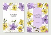 Vektor orchidea virágok. Sárga és Ibolya vésett tinta művészet. Esküvői hátlapok. Meghívás elegáns kártyák grafikus készlet.