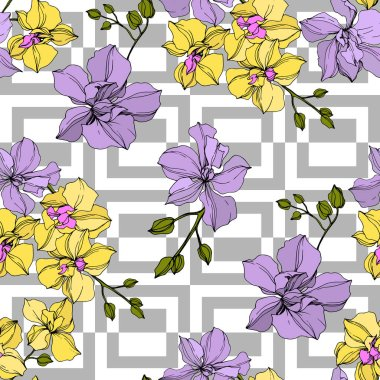 Vector yellow and violet orchid flowers. Engraved ink art. Seamless background pattern. clip art vector