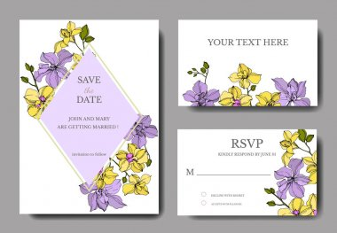 Vector Orchid flowers. Yellow and violet engraved ink art. Wedding background cards. Invitation elegant cards graphic set. stock vector