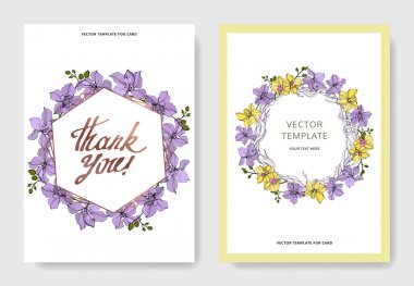 Vector Orchid flowers. Yellow and violet engraved ink art. Wedding background cards. Invitation elegant cards graphic set. clip art vector