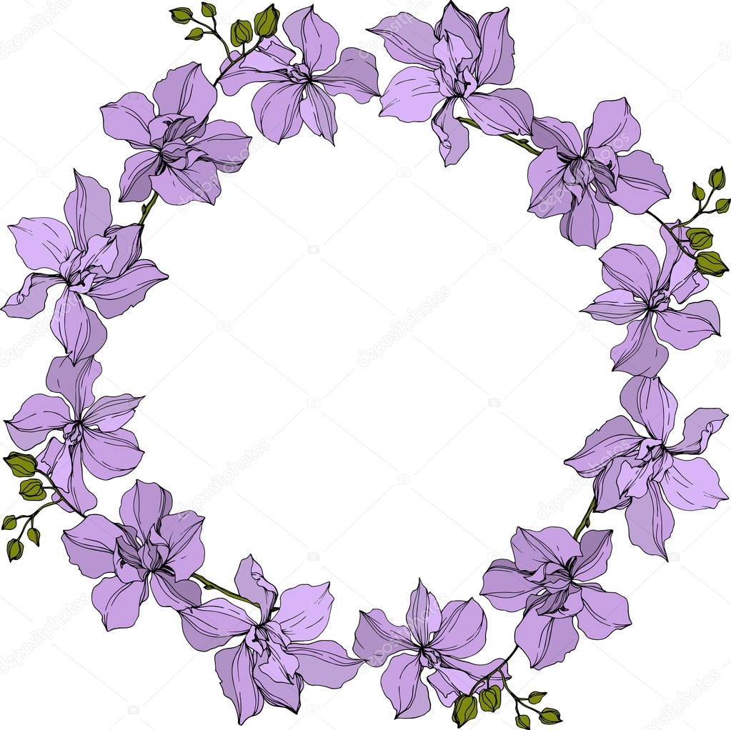 background with vector wreath of violet orchid flowers isolated on white with copy space
