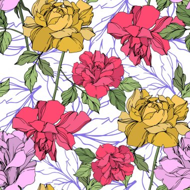 Yellow, red and violet vector roses with green leaves. Engraved ink art. Seamless background pattern. clip art vector