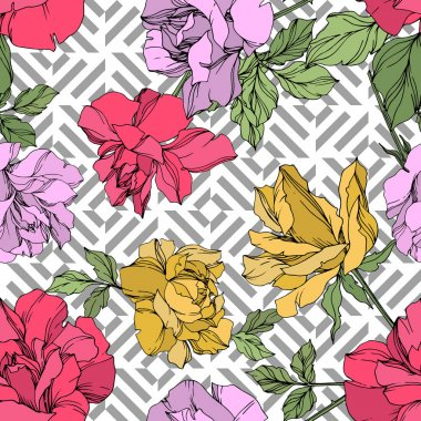 Yellow, red and violet vector roses with green leaves. Engraved ink art. Seamless background pattern. stock vector