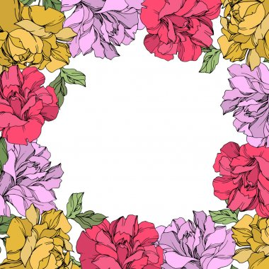 Vector wreath of roses with leaves isolated on white with copy space. Engraved ink art. Frame border ornament. clip art vector