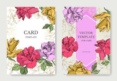 Vector Roses flowers. Engraved ink art. Wedding background cards. Elegant cards illustration graphic set. stock vector