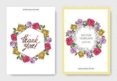 Vector Roses flowers. Engraved ink art. Wedding background cards. Elegant cards illustration graphic set. clip art vector