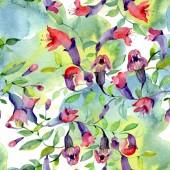 Divoké květiny se zelenými listy. Ilustrace pozadí akvarelu. Bezproblémové pozadí vzor.