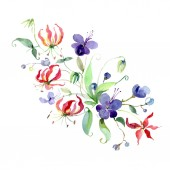 Bouquet of purple flowers with green leaves isolated on white. Watercolor background illustration elements.