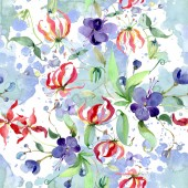 Fotografie Wildflowers with green leaves. Watercolor background illustration set. Seamless background pattern.