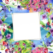 Flowers with green leaves isolated on white. Watercolor background illustration elements. Frame with copy space.