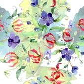 Wildflowers with green leaves. Watercolor background illustration set. Seamless background pattern.