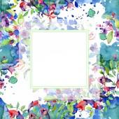 Virágok zöld levelek elszigetelt fehér. Akvarell háttér illusztrációs elemeket. Keret másolási térközzel.