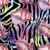 Lila tenger trópusi tengeri kagylókból a zebra nyomtatási hátteret. Akvarell háttér illusztráció meg. Folytonos háttérmintázat.