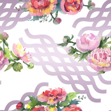 Peonies with green leaves on white background. Watercolor illustration set. Seamless background pattern. stock vector