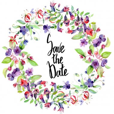 Wildflowers with green leaves isolated on white. Watercolor background illustration elements. Frame with save the date lettering. stock vector