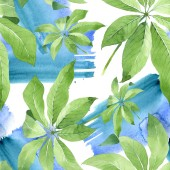 Fotografia Exotic tropical hawaiian green palm leaves. Watercolor background set. Seamless background pattern.