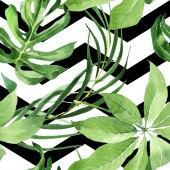 Exotic tropical hawaiian green palm leaves. Watercolor background set. Seamless background pattern.