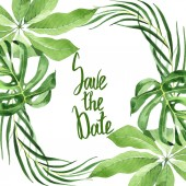 Fotografia Exotic tropical hawaiian green palm leaves isolated on white. Watercolor background set. Frame with save the date lettering.