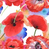 Red poppies watercolor illustration set. Seamless background pattern.