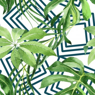 Exotic tropical hawaiian green palm leaves. Watercolor background set. Seamless background pattern. stock vector