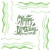 Trópusi zöld alga izolált fehér. Akvarell háttér illusztráció meg. Keret boldog születésnapot betűkkel.