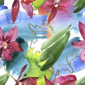 Marsala orchids with green leaves on white background with paint spills. Watercolor illustration set. Seamless background pattern.