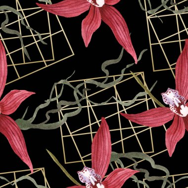 Marsala orchids with green leaves on black background. Watercolor illustration set. Seamless background pattern. stock vector
