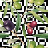 Fresh olives with green leaves isolated on white watercolor background illustration elements. Seamless background pattern.