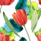 Red tulips with green leaves and paint spills. Watercolor illustration set. Seamless background pattern.