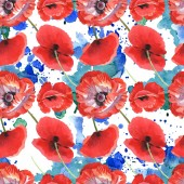 Fotografie Red poppies watercolor illustration set. Seamless background pattern.