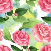 Fotografie Rosafarbene Kamelienblüten mit grünen Blättern auf Hintergrund mit Aquarellfarbe verschüttet. Aquarell-Illustrationsset vorhanden. nahtloses Hintergrundmuster.