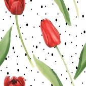 Vörös tulipán zöld levelei fehér háttérrel, fekete pöttyökkel. Akvarell illusztráció meg. Folytonos háttérmintázat.