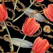 Fotografie Rote Tulpen und goldene Ketten auf schwarz isoliert. Aquarell-Illustration-Set. Nahtloses Hintergrundmuster.