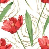 Vörös tulipán zöld levelei fehér háttérrel. Akvarell illusztráció meg. Folytonos háttérmintázat.
