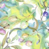 Olive branches with green fruit and leaves. Watercolor background illustration set. Seamless background pattern.