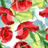Červené máky se zelenými lístky na akvarel. Bezespání vzorek pozadí.