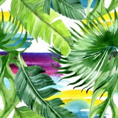 Exotic tropical hawaiian palm tree leaves. Watercolor background illustration set. Seamless background pattern.