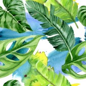 Fotografie Exotic tropical hawaiian palm tree leaves. Watercolor background illustration set. Seamless background pattern.