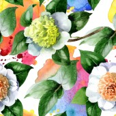 Fotografie White camellia flowers with green leaves watercolor illustration set. Seamless background pattern.