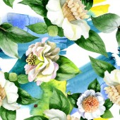 Fotografia White camellia flowers with green leaves watercolor illustration set. Seamless background pattern.