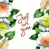 Fotografie Bílé kamélie květiny se zelenými listy izolované na bílém. Ilustrace pozadí akvarelu. Rámeček ornament s pouze pro vás písmo.