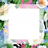Fotografie White camellia flowers with green leaves isolated on white. Watercolor background illustration set. Frame border ornament with copy space.
