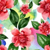 Fotografie Pink camellia flowers with green leaves. Watercolor illustration set. Seamless background pattern.